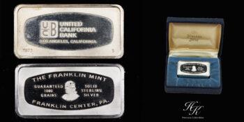 "60 grams PURE SILVER BAR ""Franklin Mint"" 1973 USA"