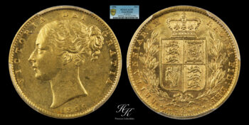 "Gold Sovereign 1856 ""Victoria – Shield"" PCGS AU55 Great Britain"