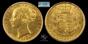 "Gold Sovereign 1864 ""Victoria – Shield "" ARABIC 1 PCGS AU58 Great Britain"