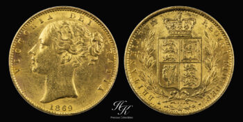 "Gold Sovereign 1869 ""Victoria – Shield "" Great Britain"