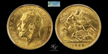 """Half (1/2) Sovereign 1925 """"George V"""" PCGS MS63+ South Africa"""