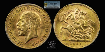 """Gold Sovereign 1931 George V """"Small Head"""" PCGS MS64 South Africa"""