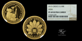 "100 euros 2015 gold proof coin ""Hera"" NGC PR69 ULTRA CAMEO Greece"
