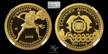 """100 Euro 2016 gold proof coin """"Poseidon""""  NGC PR69 ULTRA CAMEO Greece"""