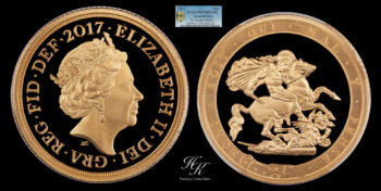 Piedfort (DOUBLE THICKNESS) Gold Proof Sovereign 2017 PCGS PR70 DEEP CAMEO Great Britain