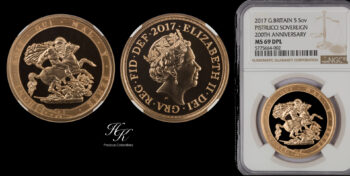 """5 Pound 2017  quintuple sovereign NGC MS69 DEEP PROOF LIKE """"Elizabeth""""  Great Britain"""