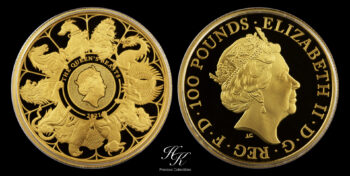 """100 Pounds 2021 Proof Gold Queen's Beast """"Completer"""" 1 oz  Great Britain"""