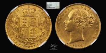 """Gold sovereign 1869 """"Victoria – Shield"""" NGC UNC Details Great Britain"""