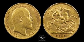 """Gold half sovereign (1/2) 1910 """"Edward VII"""" Great Britain"""