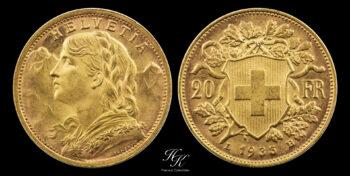 "20 Francs 1935 B ""Vreneli"" UNCIRCULATED Switzerland"