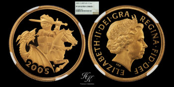 """Gold Double Proof Sovereign (2 pounds) 2005 NGC PF69 ULTRA CAMEO """"Elizabeth"""" Great Britain"""