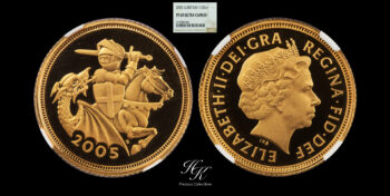 """Gold Proof half (1/2) sovereign  2005 NGC PF69 ULTRA CAMEO """"Elizabeth"""" Great Britain"""