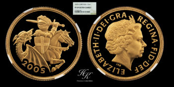 """Gold Proof Sovereign 2005 NGC PF69 ULTRA CAMEO """"Elizabeth"""" Great Britain"""