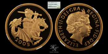 5 Pound 2005 Proof quintuple sovereign NGC PF69 ULTRA CAMEO Elizabeth Great Britain
