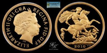 "Gold Double Proof Sovereign 2010 ""Elizabeth"" PCGS PR70 DEEP CAMEO Great Britain"
