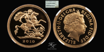 """1/2 Gold Proof Sovereign 2010 """"Elizabeth"""" NGC PF70 ULTRA CAMEO Great Britain"""