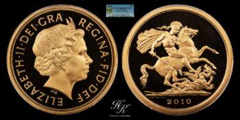 """Quintuple Gold Sovereign (5 pounds) 2010 """"Elizabeth"""" PCGS PR69 DEEP CAMEO Great Britain"""