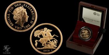 "5 Pounds Gold coin (Quintuple sovereign) BU 2018 ""Elizabeth"" Great Britain"