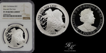 """1 Pound """"Una and the Lion St. Helena """" 2021 silver proof NGC PF70 ULTRA CAMEO Great Britain"""