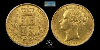 "Gold Sovereign 1850 "" Shield – Victoria "" PCGS AU58 Great Britain"