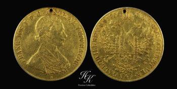 "Gold 4 Ducats 1856  ""Franz Joseph I"" Holed Austria"