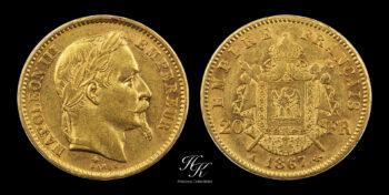 """Gold 20 francs 1867 A """"Napoleon II"""" France"""