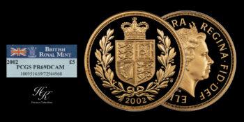 "5 Pound 2002 ""Shield"" PCGS PR69 DEEP CAMEO quintuple sovereign Elizabeth Great Britain"