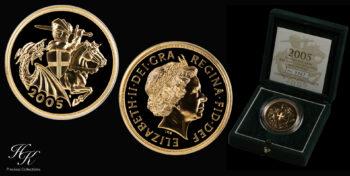 5 Pound 2005  BU quintuple sovereign Elizabeth Great Britain
