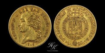 "20 Lire gold 1818  ""Vittorio Emanuele I"" Italy"