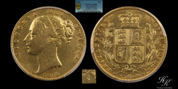 """Gold Sovereign 1859 ANSELL PCGS XF40 """"Victoria"""" Great Britain"""