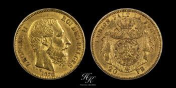 """20 Francs gold 1870  """"Leopold II"""" Belgium"""