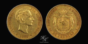 "25 pesetas gold 1878 ""Alfonso XXII"" Spain"