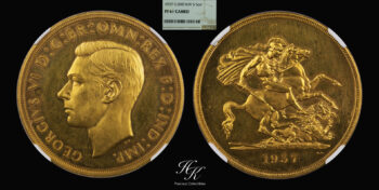 """Gold Proof 5 pounds 1937 NGC PF61 CAMEO """"King George VI"""" Great Britain"""