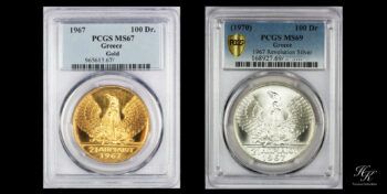 100 Drachmai Gold and Silver SET 1967 PCGS MS67 and PCGS MS69 Greece