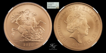 """5 (Five) Pound with George III privy 2020 MATTE (quintuple sovereign) """"Elizabeth""""  NGC MS70 Great Britain"""