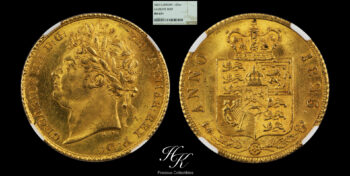"""Gold half (1/2) sovereign 1825 """"Laureate Bust"""" NGC MS63+ Great Britain"""