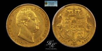Gold Sovereign 1837 William IV PCGS AU58 Great Britain