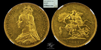 5 Pounds gold quintuple sovereign 1887 NGC MS60 PROOF LIKE Great Britain