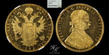 "Gold 4 ducats coin 1891 NGC MS60 PROOF LIKE ""Franz Joseph"" Austria"