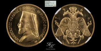 Gold Sovereign 1966 Archbishop Makarios III  NGC PF68 CAMEO Cyprus