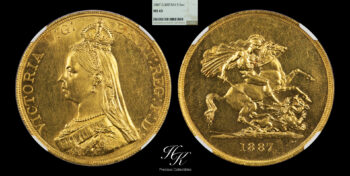 """Gold 5 Pounds (quintuple sovereign) 1887 """"Victoria"""" NGC MS63 Great Britain"""