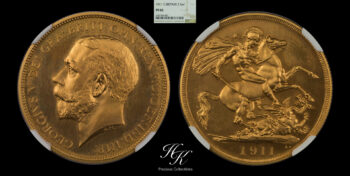 """Gold proof two pounds 1911 (Double Sovereign) """"George V"""" NGC PF65 Great Britain"""