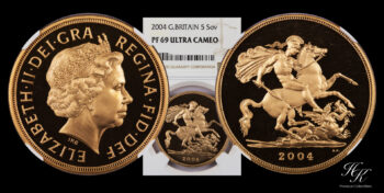 Gold 5 Pound 2004 Proof quintuple sovereign NGC PF69 ULTRA CAMEO Elizabeth Great Britain